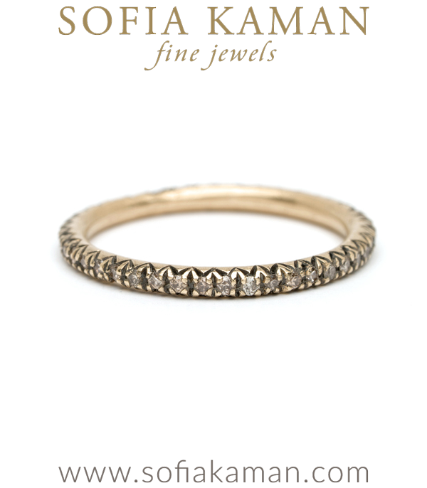 Pave Champagne Diamond Boho Stacking Ring Bohemian Eternity Wedding Band designed by Sofia Kaman handmade in Los Angeles using our SKFJ ethical jewelry process.