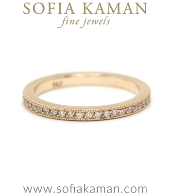 Pave Diamond Stacking Ring Bohemian Handmade Wedding Band designed by Sofia Kaman handmade in Los Angeles