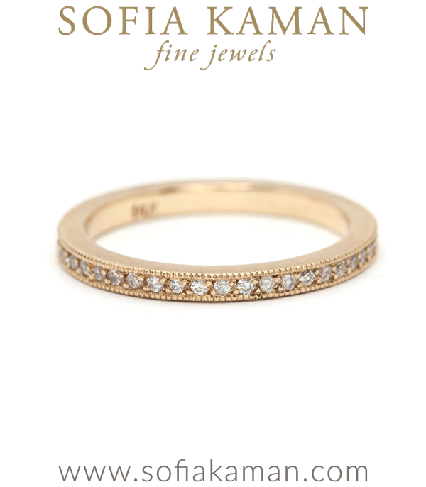 Pave Diamond Stacking Ring Bohemian Handmade Wedding Band designed by Sofia Kaman handmade in Los Angeles using our SKFJ ethical jewelry process.
