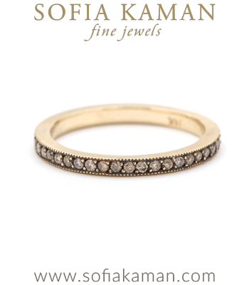 Blackened Pave Champagne Diamond Handmade Stacking Ring Bohemian Eternity Wedding Band designed by Sofia Kaman handmade in Los Angeles