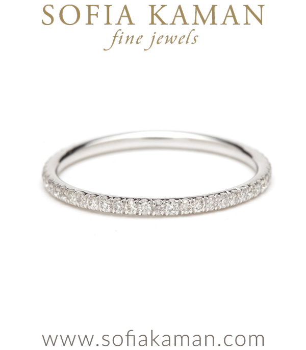 Petite Diamond Stacking Ring Bohemian Eternity Wedding Band designed by Sofia Kaman handmade in Los Angeles