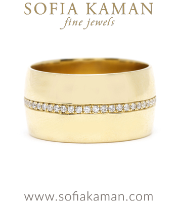 Horizontal Diamond Stripe Cigar Wedding Band for Non-Traditional or Unique Engagement Rings designed by Sofia Kaman handmade in Los Angeles