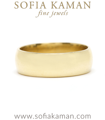 6mm 14k Gold Traditional Cigar Wedding Band for Unique Engagement Rings designed by Sofia Kaman handmade in Los Angeles