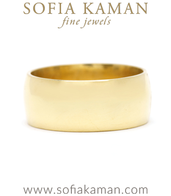 8mm 14K Gold Traditional Wedding Band for Unique Engagement Rings designed by Sofia Kaman handmade in Los Angeles