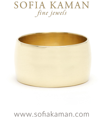 11mm Gold Wide Simple Cigar Wedding Band for Non-Traditional or Unique Engagement Rings designed by Sofia Kaman handmade in Los Angeles