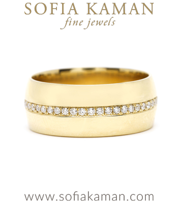 8mm Gold Cigar Wedding Band Perfect for Non-Traditional or Unique Engagement Rings designed by Sofia Kaman handmade in Los Angeles