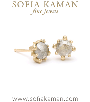 Gold Stud Salt and Pepper Diamond Bohemian Bridal Earrings designed by Sofia Kaman handmade in Los Angeles