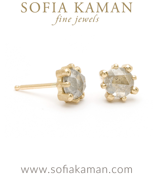 Gold Rustic Grey Diamond Stud Earrings