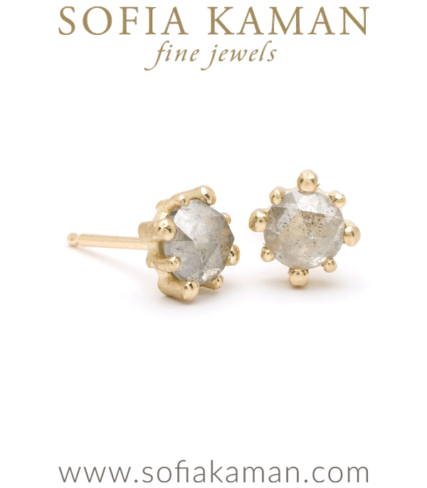 Gold Stud Salt and Pepper Diamond Bohemian Bridal Earrings designed by Sofia Kaman handmade in Los Angeles using our SKFJ ethical jewelry process. This piece has been sold and is in the SK Archive.
