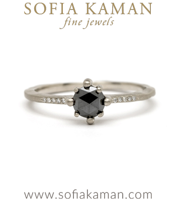 14K White Gold One of a Kind Star Prong Black Diamond Boho Engagement Ring designed by Sofia Kaman handmade in Los Angeles