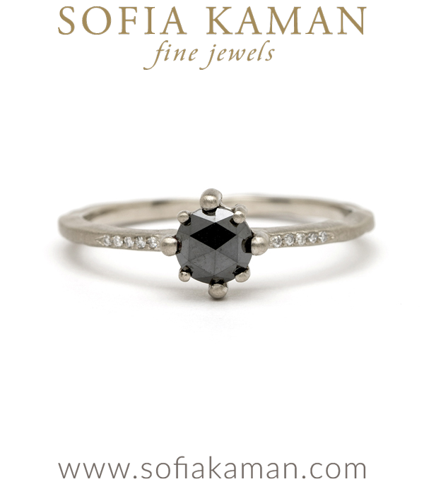 14K White Gold One of a Kind Star Prong Black Diamond Boho Engagement Ring designed by Sofia Kaman handmade in Los Angeles using our SKFJ ethical jewelry process. This piece has been sold and is in the SK Archive.