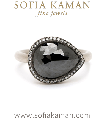 Pear Shape Rose Cut Black Diamond Bohemian Engagement Ring designed by Sofia Kaman handmade in Los Angeles