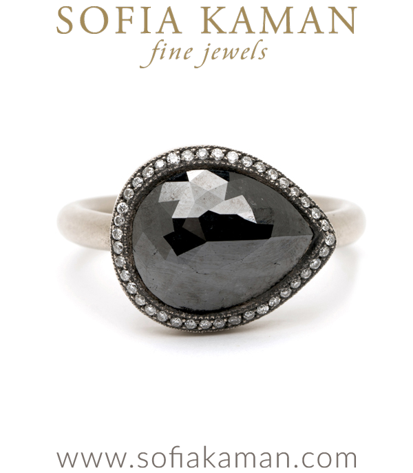 Pear Shape Rose Cut Black Diamond Bohemian Engagement Ring designed by Sofia Kaman handmade in Los Angeles using our SKFJ ethical jewelry process. This piece has been sold and is in the SK Archive.