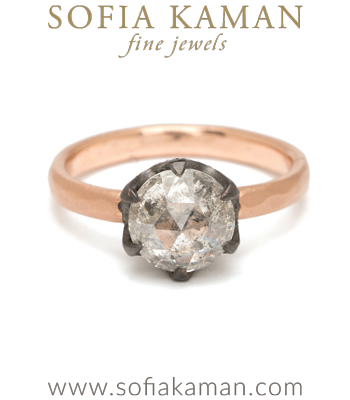 Rose Cut Diamond Bohemian Engagement Ring designed by Sofia Kaman handmade in Los Angeles
