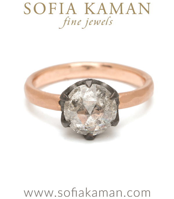 Rose Cut Salt and Pepper Diamond Bohemian Engagement Ring designed by Sofia Kaman handmade in Los Angeles