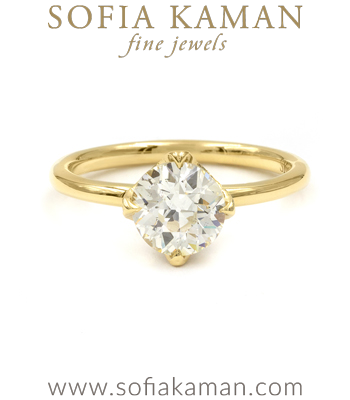 18K Gold Old Mine Cut Diamond Solitaire Boho Engagement Ring designed by Sofia Kaman handmade in Los Angeles