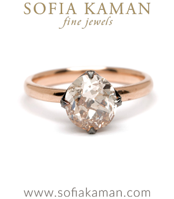 18K Gold Old European Cut Champagne Diamond Spikey Crown Bohemian Engagement Ring made in Los Angeles