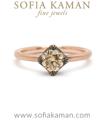 18K Gold Old European Cut Champagne Diamond Spikey Pave Crown Bohemian Engagement Ring Designed by Sofia Kaman made in Los Angeles