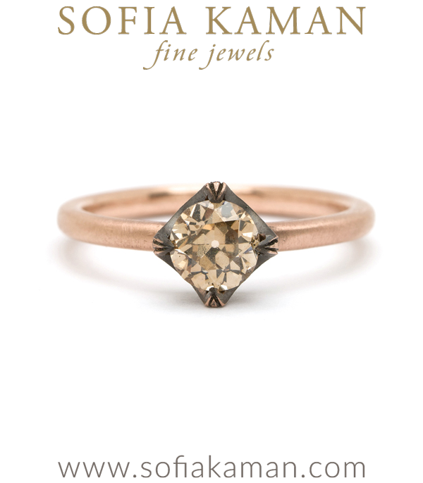 18K Gold Old European Cut Champagne Diamond Spikey Pave Crown Bohemian Engagement Ring Designed designed by Sofia Kaman handmade in Los Angeles