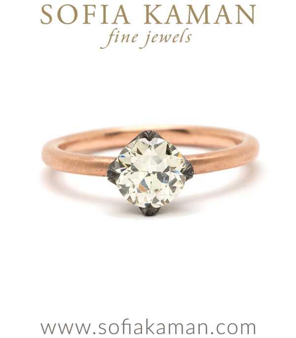 14K Matte Rose Gold Bohemian European Cut Champagne Diamond Ethical Engagement Ring designed by Sofia Kaman handmade in Los Angeles using our SKFJ ethical jewelry process. This piece has been sold and is in the SK Archive.
