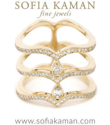 14K Yellow Gold Diamond 3 Tier Pear Unique Statement Wedding Ring made in Los Angeles