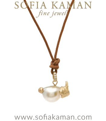 Gold Pearl Bunny Charm Leather Cord Necklace designed by Sofia Kaman handmade in Los Angeles