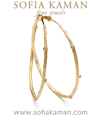 Branch Textured Hoop Earrings with Diamond Accents designed by Sofia Kaman handmade in Los Angeles