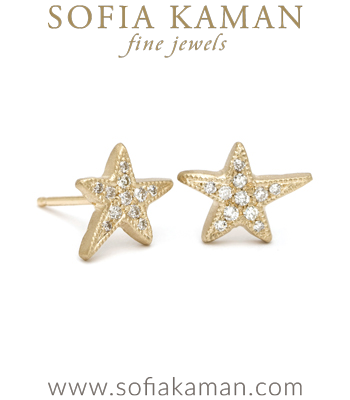 Gold Pave Diamond Shooting Star Stud Earrings designed by Sofia Kaman handmade in Los Angeles