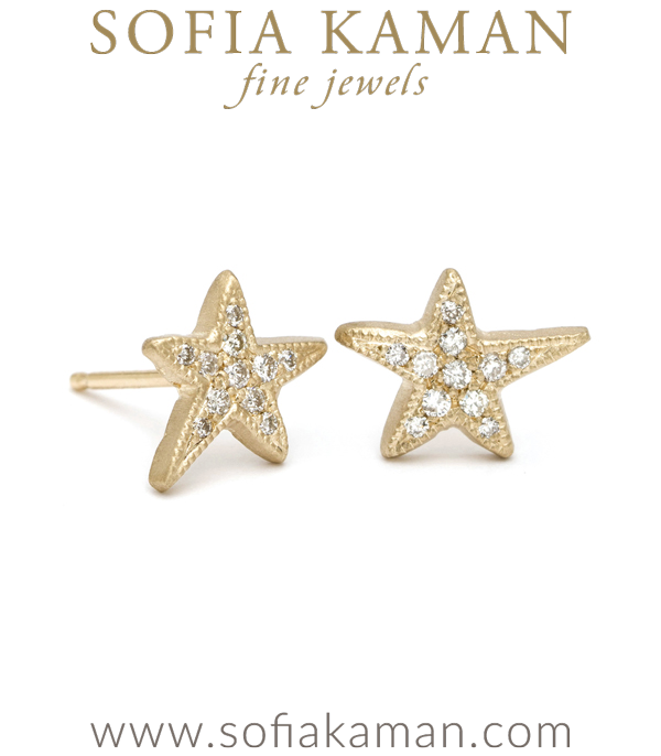 Gold Pave Diamond Shooting Star Stud Earrings designed by Sofia Kaman handmade in Los Angeles using our SKFJ ethical jewelry process.