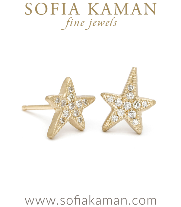 Gold Pave Diamond Shooting Star Stud Earrings