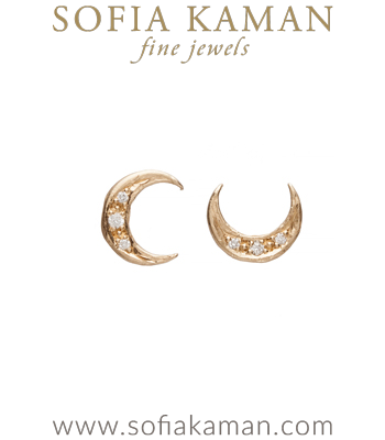 Cresent Moon Stud Earrings designed by Sofia Kaman handmade in Los Angeles