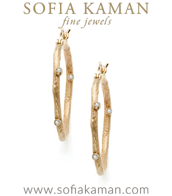Small Branch Hoop Earrings designed by Sofia Kaman handmade in Los Angeles