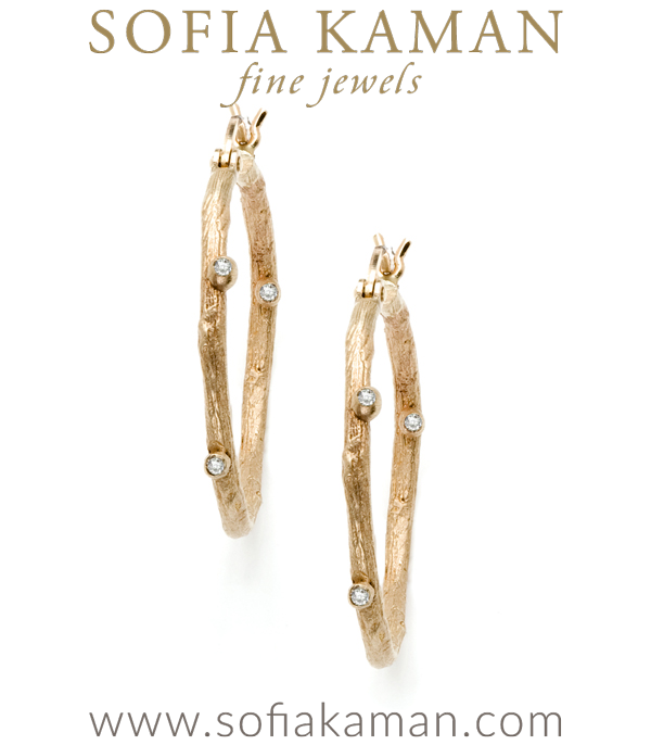These small branch 14K gold hoop earrings with diamond pod accents are simply gorgeous! They are understated and a perfect everyday accessory for any romantic girl who loves jewelry. A wonderful gift inspired by and celebrating the beauty of nature. designed by Sofia Kaman handmade in Los Angeles using our SKFJ ethical jewelry process.