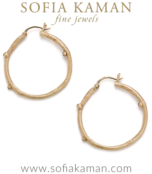Gold Small Branch Diamond Pod Hoop Earrings