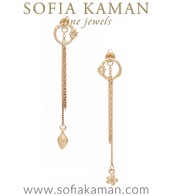 Matte Gold Branch Diamond Daisy Flower Accent Drop Boho Earrings designed by Sofia Kaman handmade in Los Angeles