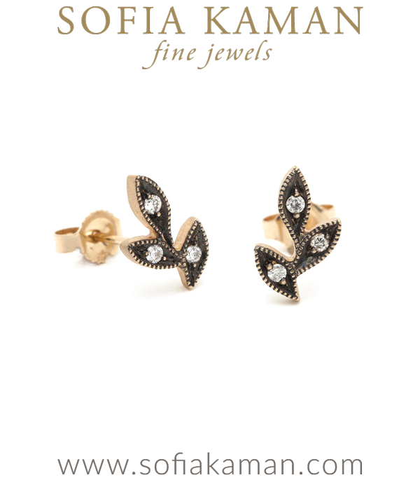 These natural leafy studs take a fresh new look with blackened accents. Twinkling diamonds (0.08ctw) stand out against the antiqued backdrop and add a vintage element to these adorable pair of earrings. designed by Sofia Kaman handmade in Los Angeles
