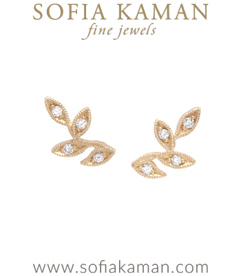 14K Gold and Diamond Leaf Climber Earrings Perfect for All Engagement Ring Styles including Unique Engagement Rings and Antique Engagement Rings designed by Sofia Kaman handmade in Los Angeles