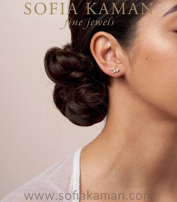 Gold Diamond Leave Earrings For Engagement Rings