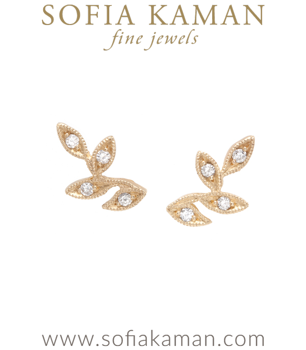 Whimsical and wild, we love how these leafy 14K gold ear climbers grace the lobes with their sparkle and texture. Accented with diamonds, (0.10ctw), they are a perfectly stylish way to bring the splendor of the outdoors with you everywhere you go! What an exceptional gift inspired by nature's brilliance. For the bohemian beauty who never settles when it comes to accessorizing. designed by Sofia Kaman handmade in Los Angeles