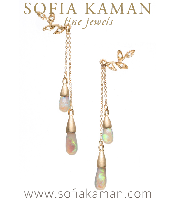 Diamond Accented Garland Opal Drop Earrings