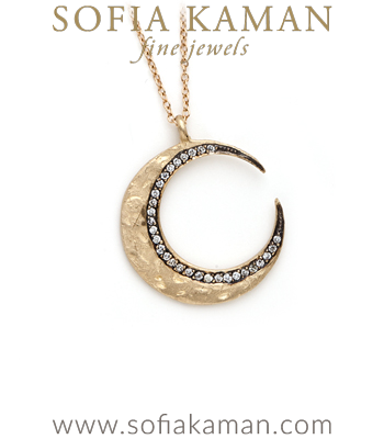 Rose Gold 14K Gold Textured Blackened Edge Diamond Pave Crescent Moon Boho Necklace goes perfect with most Rose Gold Engagement Rings designed by Sofia Kaman handmade in Los Angeles
