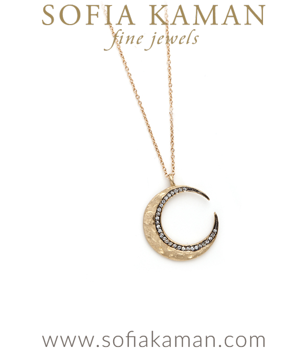Gold Blackened Pave Diamond Crescent Moon Charm Necklace