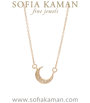 14K Yellow Gold Diamond Moon Charm Necklace designed by Sofia Kaman handmade in Los Angeles