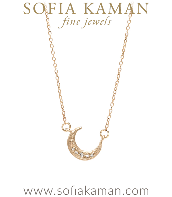 "Sleek and sweet. This 14k gold crescent moon necklace is accented with 4 twinkling diamonds following the moon's curve.  A subtle reminder to ""shoot for the moon, even if you miss you will land among the stars"".Length: 16 inches. designed by Sofia Kaman handmade in Los Angeles"