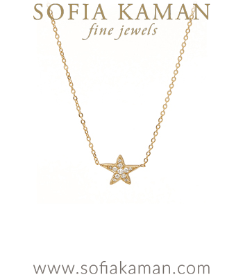 Charm Necklaces Edgy Black Rhodium Gold Diamond Pave Shooting Star Necklace designed by Sofia Kaman handmade in Los Angeles