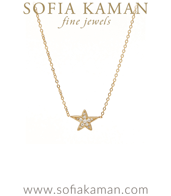 Gold Pave Diamond Star Necklace