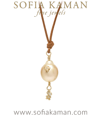 Baroque Pearl Bohemian Bridal Leather Cord Necklace designed by Sofia Kaman handmade in Los Angeles