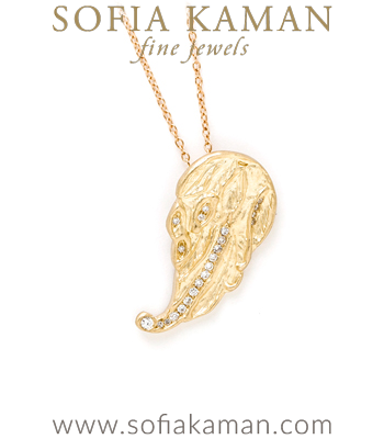 14k Matte Gold Diamond Accented Bohemian Angel Wing Bridal Necklace perfect match for most Engagement Ring Styles designed by Sofia Kaman handmade in Los Angeles