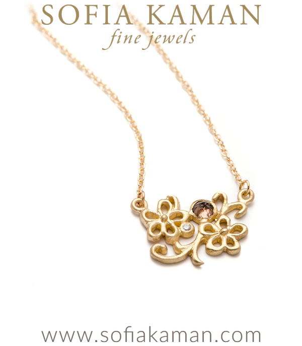 14K Gold Rose Cut Champagne Diamond Scrolling Floral Boho Wedding Necklace designed by Sofia Kaman handmade in Los Angeles using our SKFJ ethical jewelry process. This piece has been sold and is in the SK Archive.