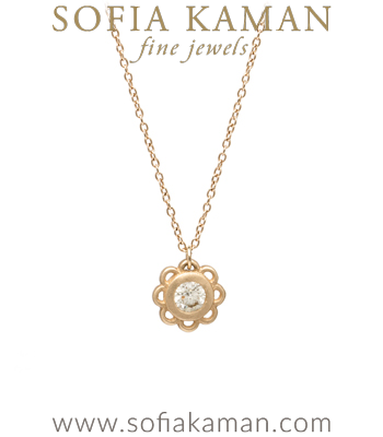14K Gold Ethically Sourced Diamond Accent Boho Florette Bridal Necklace designed by Sofia Kaman handmade in Los Angeles